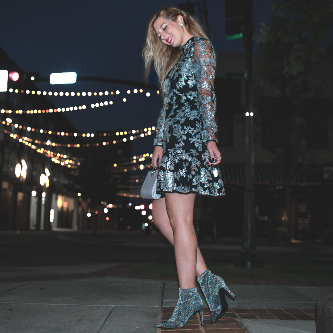 cocktail dress with ankle boots